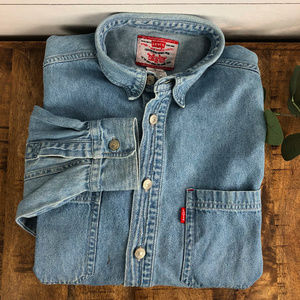Vintage Levi's Youth Boys Button Up Jean Shirt XL